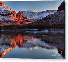 Acrylic Print featuring the photograph Fisher Towers Sunset On The Colorado by Adam Jewell