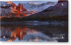 Acrylic Print featuring the photograph Fisher Towers Sunset Reflection Panorama by Adam Jewell