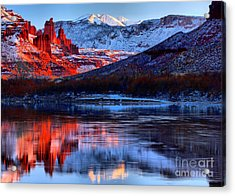 Acrylic Print featuring the photograph Fisher Towers Sunset Winter Landscape by Adam Jewell