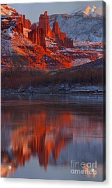 Fisher Towers Winter Sunset Acrylic Print
