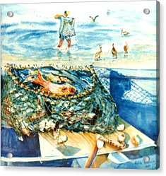 Fisherman And His Assistants Acrylic Print by Estela Robles