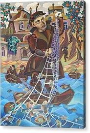 Fisherman Acrylic Print by Andrey Soldatenko