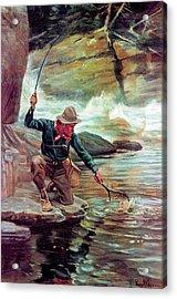 Fisherman By Stream Acrylic Print