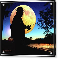 Fisherman In The Moolight Acrylic Print
