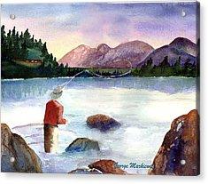Fisherman In The Morning Acrylic Print by George Markiewicz