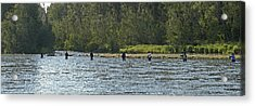 Fisherman Lineup Kenai River Acrylic Print by Mary Gaines