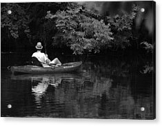 Fisherman On Lady Bird Lake - Bw Acrylic Print