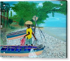Acrylic Print featuring the painting Fisherman Returning Home by Nicole Jean-louis