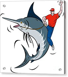 Fisherman Riding Marlin Acrylic Print by Aloysius Patrimonio