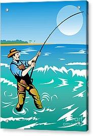 Fisherman Surf Casting Acrylic Print