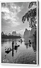 Fishermen At Dawn. Acrylic Print