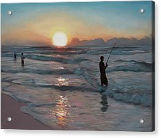 Fishermen At Sunrise Acrylic Print
