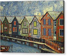 Acrylic Print featuring the painting Fishermen Huts by Walter Casaravilla