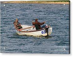 Fishermen In A Boat Acrylic Print by Louise Heusinkveld