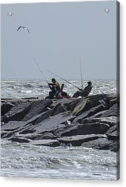 Fishermen With Seagull Acrylic Print