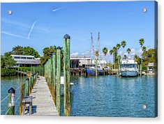 Acrylic Print featuring the photograph Fishery Restaurant Dock And Harbor by Frank J Benz