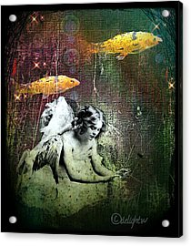 Acrylic Print featuring the digital art Fishes Wings by Delight Worthyn