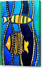 Fishes With Seaweed - Art By Dora Hathazi Mendes Acrylic Print by Dora Hathazi Mendes