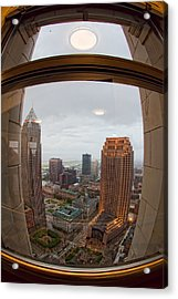Fisheye View Of Cleveland From Terminal Tower Observation Deck Acrylic Print by Kathleen Nelson