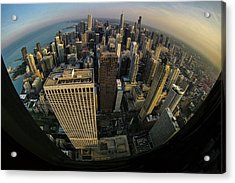 Fisheye View Of Dowtown Chicago From Above  Acrylic Print