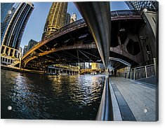 Fisheye View From The Chicago Riverwalk Acrylic Print