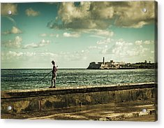 Acrylic Print featuring the photograph Fishing Along The Malecon by Lou Novick