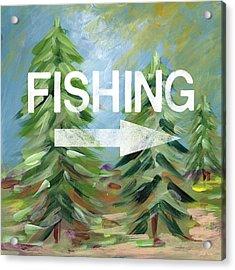 Fishing- Art By Linda Woods Acrylic Print by Linda Woods
