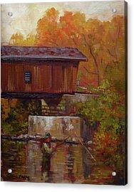 Fishing At Creek Road Bridge Acrylic Print by Nora Sallows
