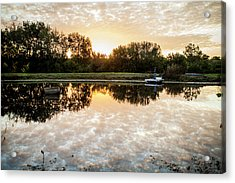 Acrylic Print featuring the photograph Fishing At Dawn by Wade Courtney