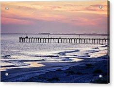 Fishing At Sunset Acrylic Print by Alan Hausenflock