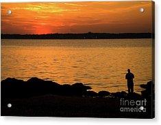 Fishing At Sunset Acrylic Print by Karol Livote