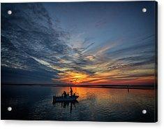 Fishing At Sunset Acrylic Print by Rick Berk