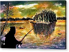 Fishing At Twilight Acrylic Print by Ion Danu