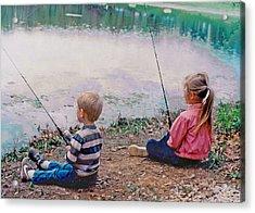 Fishing At Watkins Mill Acrylic Print by Steve Karol