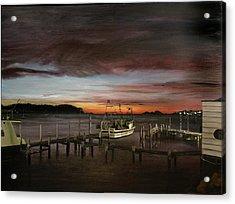 Fishing Bay At Sunrise Acrylic Print by Elisabeth Dubois