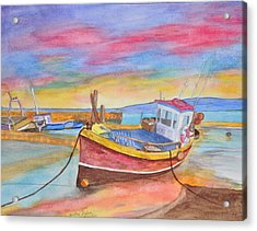 Fishing Boat At Low Tide Acrylic Print by Jonathan Galente