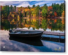 Fishing Boat On Mirror Lake Acrylic Print