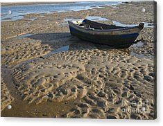 Fishing Boat Resting On The Beach Sand Acrylic Print by Angelo DeVal