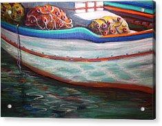 Fishing Boatgreek  Acrylic Print by Yvonne Ayoub