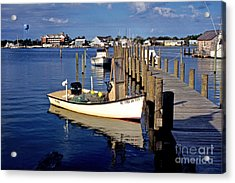 Fishing Boats At Dock Ocracoke Village Acrylic Print by Thomas R Fletcher