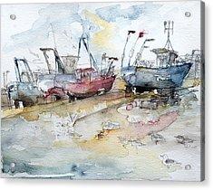 Fishing Boats At Hastings' Beach Acrylic Print by Barbara Pommerenke