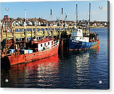 Fishing Boats At Provincetown Wharf Acrylic Print by Roupen  Baker