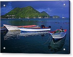 Fishing Boats At Sunrise- St Lucia Acrylic Print by Chester Williams