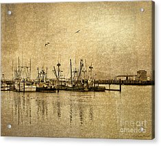 Acrylic Print featuring the photograph Fishing Boats Columbia River In Sepia by Susan Parish
