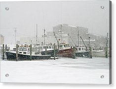 Fishing Boats During Winter Storm Sandwich Cape Cod Acrylic Print by Matt Suess