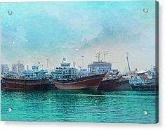 Fishing Boats In Dubai Harbor Acrylic Print by Art Spectrum