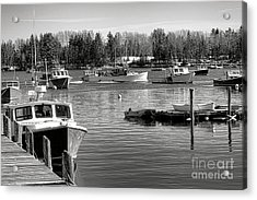 Acrylic Print featuring the photograph Fishing Boats In Friendship Harbor In Winter by Olivier Le Queinec