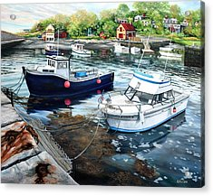 Fishing Boats In Lanes Cove Gloucester Ma Acrylic Print
