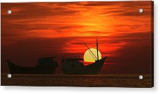 Fishing Boats In Sea Acrylic Print