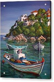 Fishing Boats In Skiathos Old Port Acrylic Print by Yvonne Ayoub
